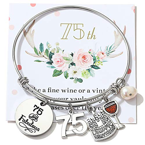 75th Birthday Jewelry Gifts for Women Stainless Steel Expandable Bangle 75 Year Old Charm Bracelets for Daughter Granddaughter