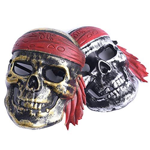 Halloween Piraten Maske- Pirat Skelett Kostüm Kinder Erwachsene Piratenrolle Spielen für Maskerade Party Kostüm Requisiten Party Zubehör