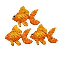 uxcell 水槽オーナメント プラスチック金魚 人工金魚 水族館装飾 魚タンクデコレーション 3尾 オレンジ