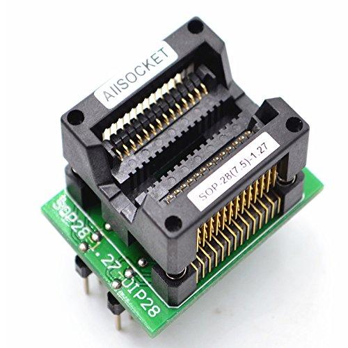 ALLSOCKET SOP28-7.5-1.27 SOP28 Paquete SOIC28 SO28 SOP28 a DIP28 Adaptador de programación de enchufe de prueba de 1,27 mm de paso 7,5 mm de ancho (300 mil) S-SOP28-1.27 OTS28 (28)-1.27-04