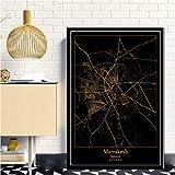 Leinwand Bilder,Marrakesch Marokko Stadtplan Schwarz Gold