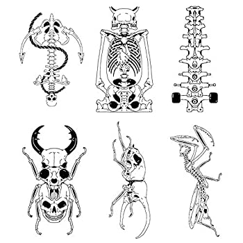 6 Unique Design Temporary Tattoos by Inktells-Updated 2020-Skull,Mantis Tattoo for Men and Boys  fake tattoos for neck,back,hand and forearm   Removable 2 sheets