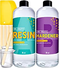 DR CRAFTY Clear Epoxy Resin Crystal Clear Resin Kit Art Resin Epoxy Clear 2 Part Epoxy Art Resin Clear Casting Resin Jewelry Resin 16 Ounce Kit with Bonus Measuring Cups, Plastic Spreader and Sticks
