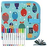 POOPHUNS Portatile da Disegno per Bambini, Doodle Disegno Giocattoli per Bambini, Libro di Pittura per Bambini con 14 Pagine, Lavagna a Doppia Faccia, Reuseful Lavabile