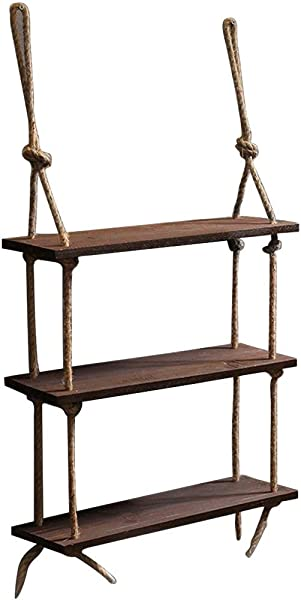 Dowager 1PC 3 Tier Rope Hanging Floating Shelves Rustic Wood Wall Decor Swing Shelf With 4 Hooks