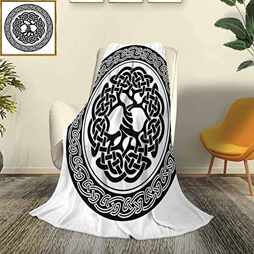 Celtic Decor Car camping blanket shawl blanket Native Celtic Tree of Life Figure Ireland Early Renaissance Artsy Modern Design Four seasons light living room/bedroom warm blanket W57 x L74 Inch Black