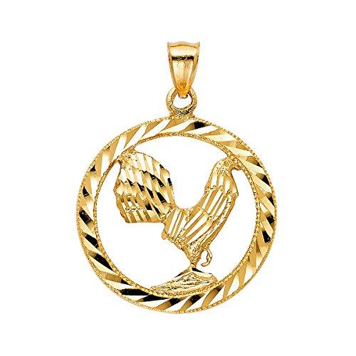 Top Gold & Diamond Jewelry TGDJ Anhänger Hahn, 14 kt Gelbgold, 33 x 33 mm