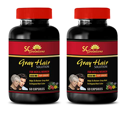 Gray Hair Reducer for Men - Anti-Gray Hair Solution - for Men and Women - Saw Palmetto and Nettle Root - 2 Bottles (120 Capsules)