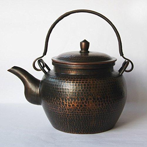 Chinese Full Handmade Red Copper tea kettle pot Hammered metalware teapot 1800ml