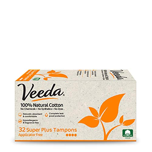 Veeda 100% Natural Cotton Applicator Free Tampons Super Absorbent Comfort Digital Super Plus Tampons Chlorine Toxin and Pesticide free, 32 Count