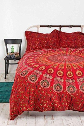 Indian Queen Size Mandala Duvet Cover Handmade Red Color Dona Cover set 3 pcs