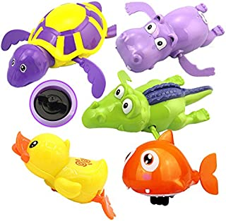 WenToyce 5 Pack Pool Float Bath Toys, Wind Up Swimming Bathtub Animals for Boys Girls Toddlers , Fish + Tortoise + Hippocampus + Crocodile + Duck, Smooth Cute Appearance (Random Color)
