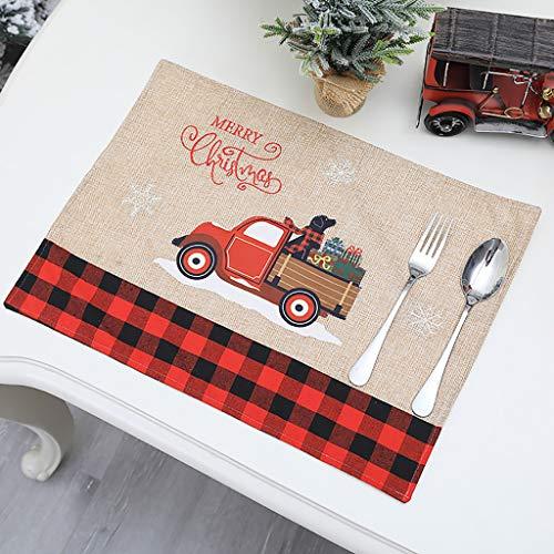 HINK Set de Table napperons de noël Camion et Arbre de noël ou Chien napperons en Lin lavables Maison et Jardin décor à la Maison