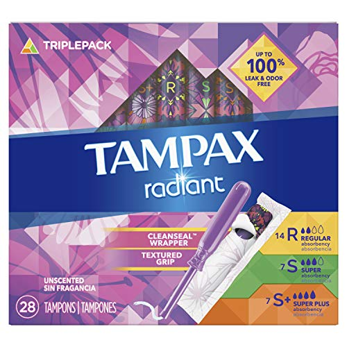 Tampax Radiant Tampons Trio Pack Regular/Super/Super Plus Absorbency, Unscented, 28 Count