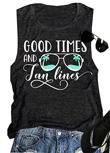 FEELIN Good Times and Tan Lines Tank Top for Women Funny Sunglasses Coconut Trees Graphic Tee Summer Sleeveless Cute Shirts(Dark Grey, L)