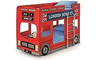 Julian Bowen London Bus Bunk Bed & 2 Premier Mattresses, Red, Single