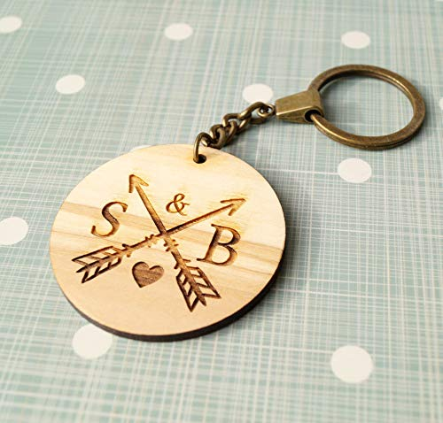 Personalized monogram letters crossed arrows wooden keychain, laser cut out keychain, olive wood keychain