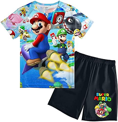MPY-SEA Super Mario Jungen Schlafanzug Mario Shorts Anzug Schlafanzug Jungen Kurz Super Mario Spielzeug Kinder Kleidung Für Mädchen (Super Mario2,140)