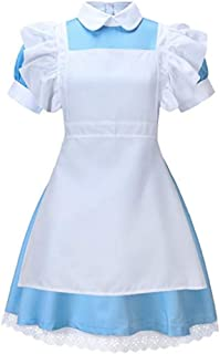Women's Fancy Maid Dress Costume Halloween Cosplay Outfit with Apron Blue