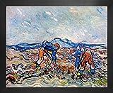 1art1 Vincent Van Gogh Póster Impresión Artística con Marco (Madera DM) - Campesinos Plantando Patatas, 1890 (50 x 40cm)