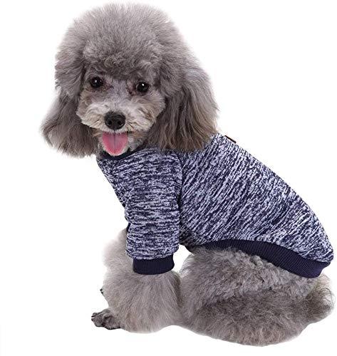 Eliot Suéter para Perro Chico, Mediano o Grande. Suéter para Mascota, suéter de Perro cómodo. Suéter, Abrigo, Chamarra para Perrito (Azul Marino, Large)