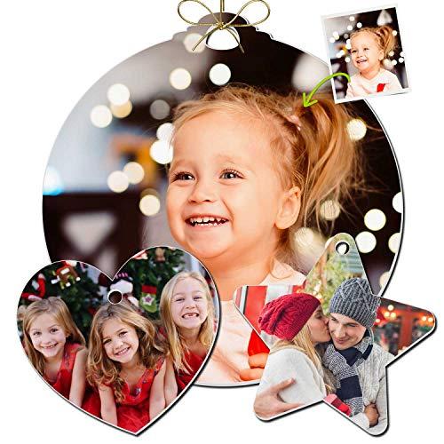 Coverpersonalizzate.it Set di Palline di Natale Personalizzate Disponibili in Varie Forme e Misure, Palline Natalizie con Foto. Perfette Idee Regalo Come Decorazioni di Natale Personalizzate