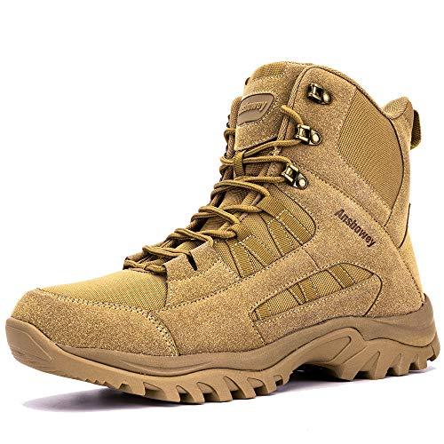 [Ansbowey] トレッキングシューズ メンズ ブーツ ミリタリー レディース 登山靴 サバゲー タクティカル コンバット ジャングル アウトドア YKK製サイドジップ 通気性 防滑 耐摩耗性 厚底 幅広 男女兼用 ブラウン 28.0cm