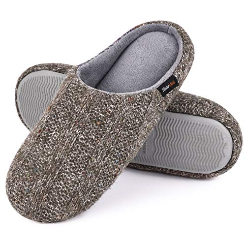 Snug Leaves Damen Baumwolle Memory Foam Hausschuhe Terry Tuch Anti Skid Schuhe von HomeIdeas Grau,42-43 EU