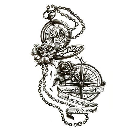 EROSPA® Tattoo-Bogen temporär/Sticker - Taschenuhr Kompass Kette Rosen - Wasserfest - 15 x 21 cm