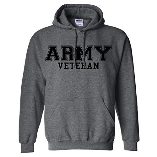 Army Veteran Black Logo Hooded Sweatshirt in Dark Heather - X-Large