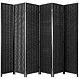 MyGift 4-Panel Woven Bamboo Folding Room Divider, Free Standing Portable Privacy Screen, Black