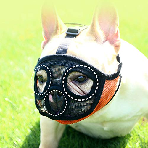NACOCO Dog Mesh Muzzles Short Snout Pet Muzzle Anti Bite Mask Brethable Dogs Mouth Muzzles Basket for Bulldog Pug and Sharpei (M, Orange)