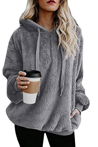 Yanekop Womens Sherpa Pullover Fuzzy Fleece Sweatshirt Oversized Hoodie with Pockets(Light Gray,M)