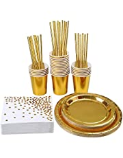 146 pcs Rose Gold Party Supplies Party Tableware Foil Paper Plates Napkins Cups Straws Weddings Anniversary Birthday