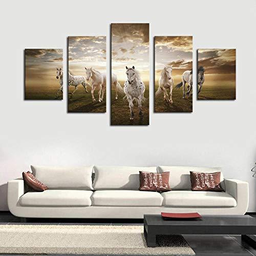 zszy poster muurschildering 5 st. Hoge kwaliteit goedkope kunstfoto's Running Horse Large Modern Home Wanddecoratie Abstract Canvas-40x60 40x80 40x100cm stuk geen lijst