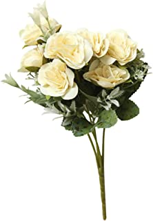 AKIMPE Artificial Fake Flower Faux Greenery DIY Decorations Forever Petals Long Stem Vine Preserved Gift for Wedding Party Home Birthday Garden Her Women Beige