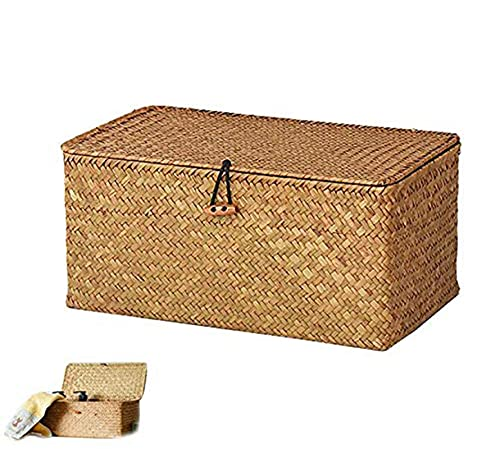 Aimili Wicker Wicker Storage Baskets with Woven Natural Rattan Lid Rectangular Storage Box Large