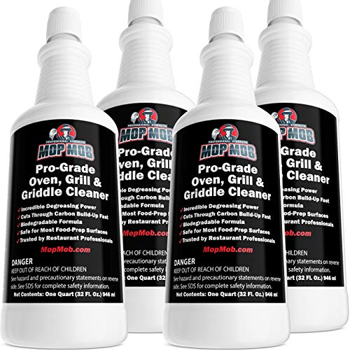 Commercial Grill and Oven Cleaner 32 Oz Concentrate 4pk Heavy-Duty, Fast-Acting Degreaser Solution Removes Carbon, Grime, Burnt Food and Oil for Griddles, Fryer Baskets and Kitchen Cooking Surfaces