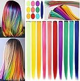 RYH 10 piezas de clip en extensiones de cabello de colores para niñas, mujeres, peluca con piezas de cabello arcoíris para niñas, clips multicolores para fiestas (color arcoíris)