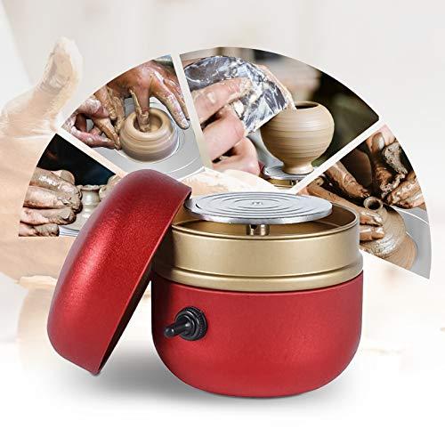 HUKOER Mini Pottery Wheel Machine, 1500RPM Turntable Electric Yema del dedo DIY Clay Tool con bandeja para adultos Niños Cerámica Art