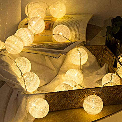 2 Pack Cotton Balls Fairy Lights Battery Operated 10 LEDs Wool Balls String Light 2.15M/6.56ft Warm White D (D:4.5cm/1.77inch) for Bedroom,Party,Indoor,Wedding,Festival Decor