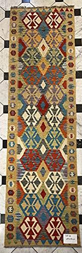 Alfombra oriental afgana hecha a mano Kilim de lana de colores naturales afganos turcos nómada persa tradicional persa 80 x 299 cm vintage corredor pasillo escalera reversible