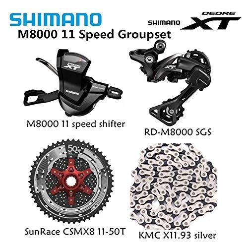 Haute Qualité Vélo Bicyclette Shimano XT M8000 MTB Le Kit 11 De Vitesse Groupe Transmission RD-M8000 Shifter avec Cassette SunRace K7 Chaîne KMC 11-46T 11-50T (Color : CSMX8 11 50T Silver)