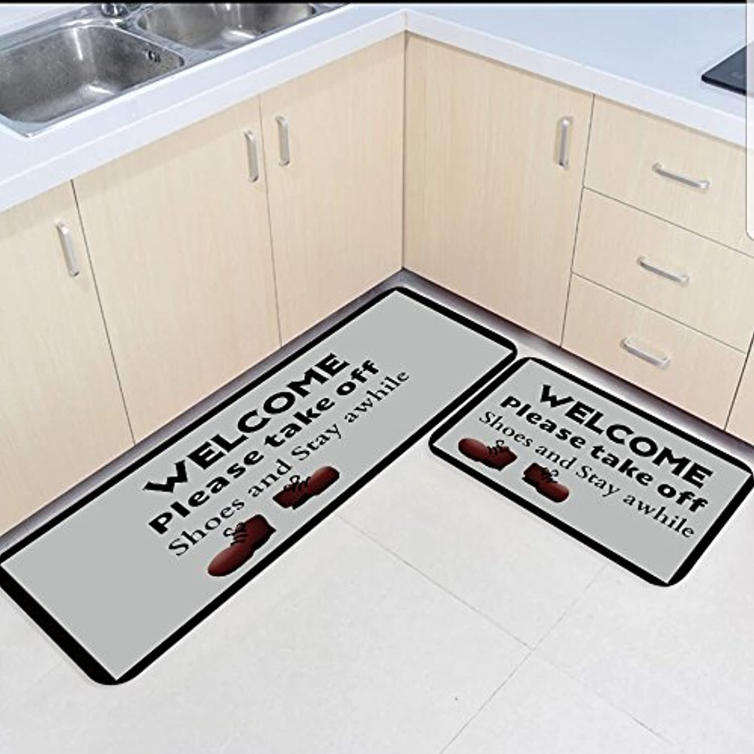 Non Slip Resilient Rug Set 2 Piece Absorbent Anti-Skid Entry Way Doormat for Bathroom Kitchen Toilet Floor Welcome Please Take Off shoes and Stay Awhile Pattern Home Deco 19.7 x31.5 +19.7 x47.2