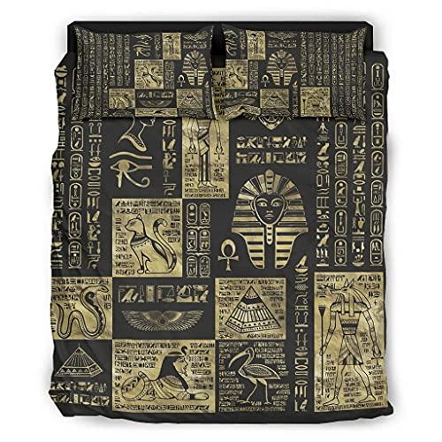 Jaccober Juego de ropa de cama de 4 piezas con adornos egipcios, de lujo, calidad prémium, resistente a las arrugas, para el dormitorio en casa, color blanco, 240 x 264 cm