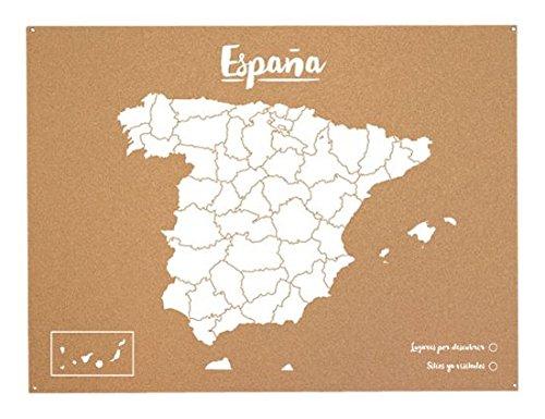Miss Wood Woody Map L wereldkaart van kurk, met Spaanse kaart, wit