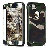 LCHULLE 2 in 1 Hülle für iPhone 5/iPhone 5S/iPhone SE Handyhülle mit Panzerglas Schutzhülle TPU + PC Bumper Doppelschichter Schutz Hülle für iPhone 5/iPhone 5S/iPhone SE Tasche, Armeegrün