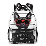 Student Backpack Funny Cute French Bulldog Bad Dog Unisex Laptop Bag Lightweight Casual Rucksack For Commuter, School And Traveling Fits 15.6 Inch Laptop