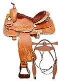 """Y&Z Enterprises - Silla de montar de piel para caballos de carreras de caballos de carreras, marrón, 18"""" Inch Seat"""