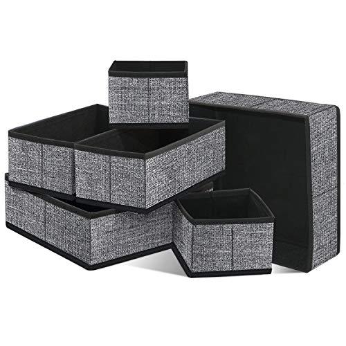 homyfort 6er-Set Stoffbox für Schrank oder Schublade, Aufbewahrungsbox für Wäsche, Gürtel, Accessoires, Aufbewahrungskiste für den Schublade Stoff kiste, Vliesstoff, Schwarz-Leinen, XACB6P